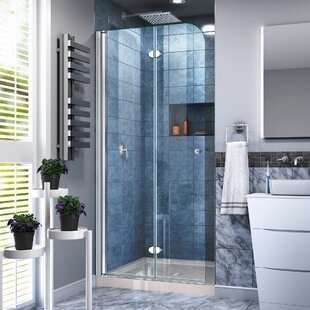 Affordable Aqua Fold 33.5 x 74.75 Square Hinged Shower Enclosure with Base Included By DreamLine