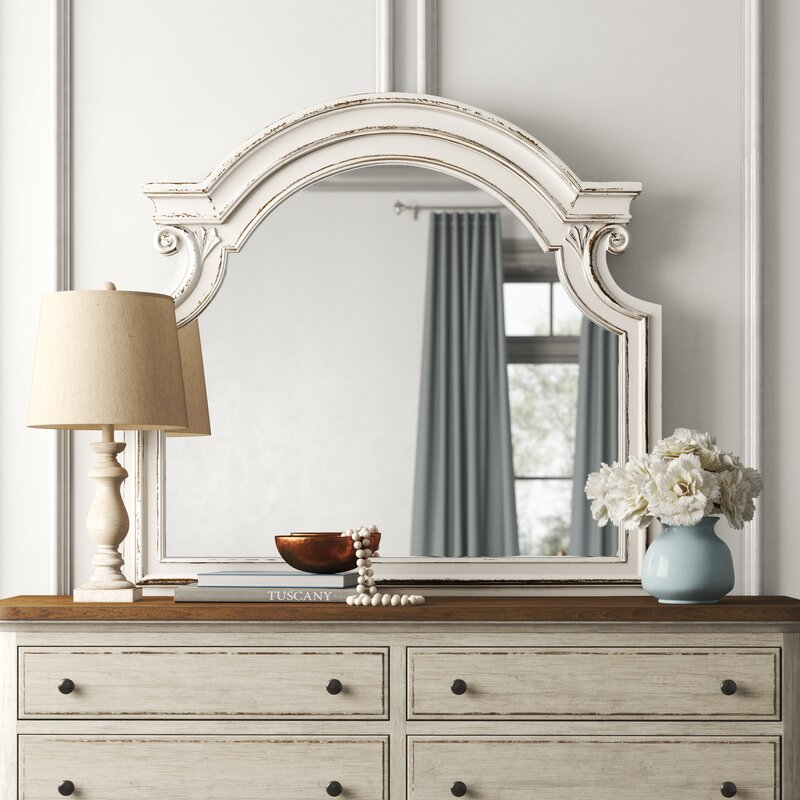 Kelly Clarkson Home Treport Farmhouse Country Arched Beveled Distressed Dresser Mirror Reviews Wayfair