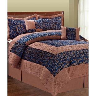 Bloomsbury Market Kasia Blue Fall Cheetah 6 Piece Comforter Set