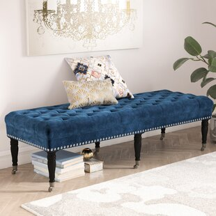 Willa Arlo Interiors Cline Velvet Upholstered Bench with Caster