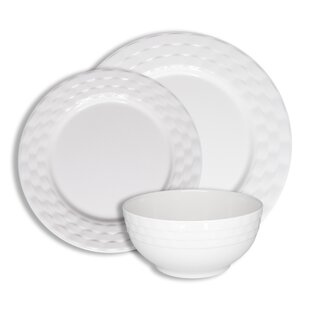 Basket Weave 12 Piece Melamine Dinnerware Set, Service for 4