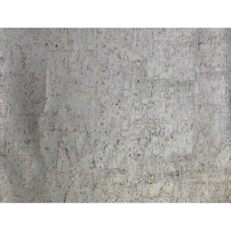 "17 Stories Kenzo 24 L x 36"" W Cork Wallpaper Roll  Color: Warm Silver"