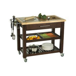 Claudia Chef Kitchen Island With Granite And Wood Top
