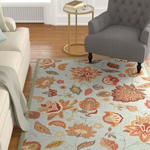 Carvalho Hand-Hooked Yellow/Ivory/Blue/Burgundy Indoor/Outdoor Area Rug