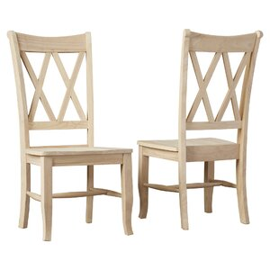 Toby Cross Back Solid Wood Dining Chair (Set of 2)