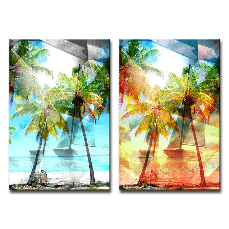 Ebern Designs Modern Paradise 2 Piece Wrapped Canvas Graphic Art Print Set Reviews Wayfair
