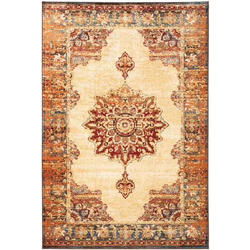 World Menagerie Messancy Power Loom Orange Rug Reviews Wayfair