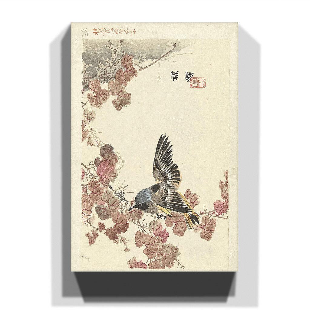 Leinwandbild Bird and Red Vine Japanese Oriental Kunstdruck von Kono Bairei
