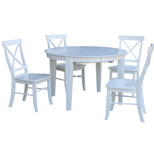 48 x 48 Round Extension 5 Piece Dining Set with 4 X-Back Chairs