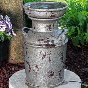 Polystone Vintage Milk Can Birdbath Fountain with Light by SunnyDaze Decor