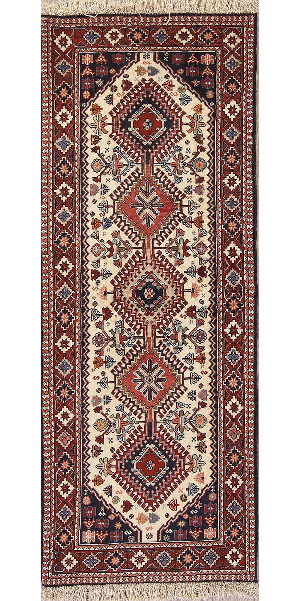 Clarimond Ivory Geometric Gharajeh Persian Style Runner Rug 6 5 X 2 5