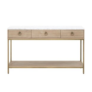 Pottsville 3 Drawers and 1 Open Shelf Marble Top Entry Console Table by Everly Quinn