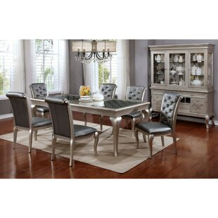 Suzan Contemporary 7 Piece Solid Wood Dining Set