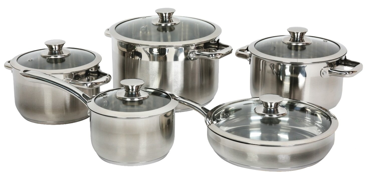 Gourmet Chef Gourmet Chef Stainless Steel 10 Piece Cookware Set ...