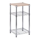 3 Tier Chrome with Laminated Wood Shelf by Honey Can Do
