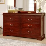 Hutcheson 6 Drawer Double Dresser with Mirror by Three Posts