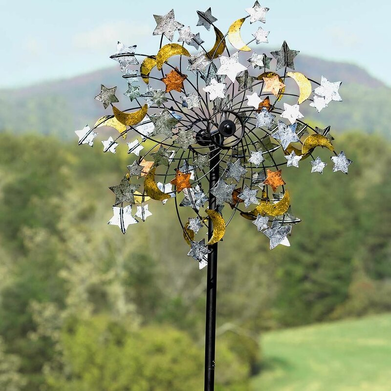 """Wind Designs WIND WHEEL 14/"""" Yellow and Black Swirl Spindisc Windspinner NEW"""