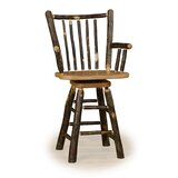 Tennessee 24 Swivel Stick Back Bar Stool  With Arms by Millwood Pines