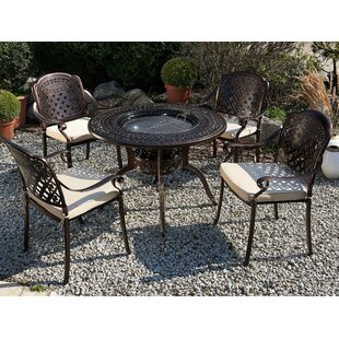 Frame 4 Seater Dining Set With Cushions And Parasol By Astoria Grand
