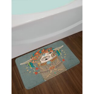 Ambesonne Llama Bath Mat by, Colorful Headwear Wearing Llama with Accessories Earrings Necklace Abstract Animal, Plush Bathroom Decor Mat with Non Slip Backing, 29.5 W X 17.5 W Inches, Multicolor