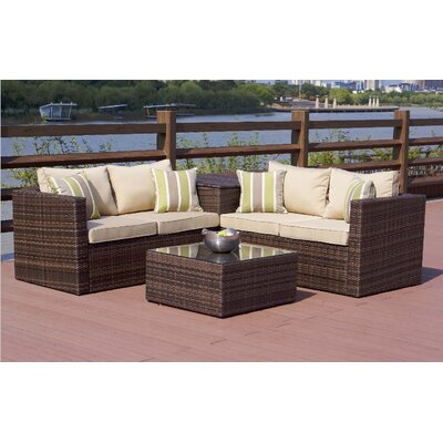 Direct Wicker Zoe 4 Piece Sofa Set with Cushions