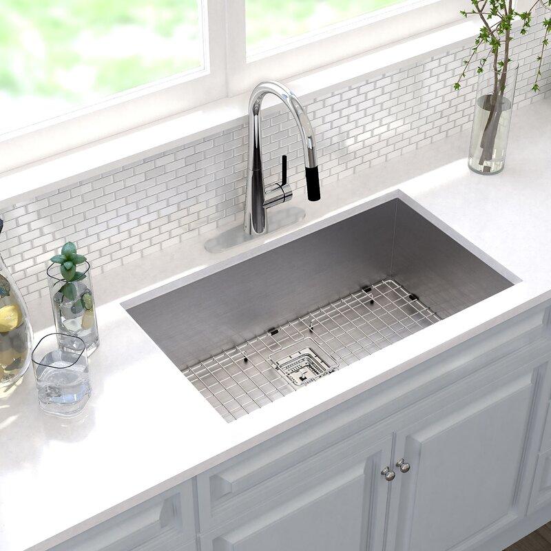 """Undermount Kitchen Sink Kraus Pax™ 31.5"""" X 18.5"""" Undermount Kitchen Sink & Reviews  Wayfair"""