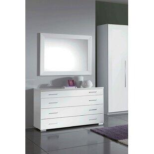 Clem 4 Drawer Dresser with Mirror