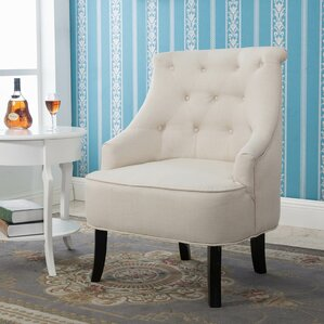 Terrell Curved Back White Accent Side Chair ..