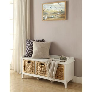 Whitten Rectangular Basket Wood Storage Bench by Breakwater Bay