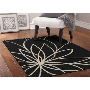 Grand Floral Black/Ivory Area Rug byGarland Rug