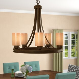 Three Posts Russell Farm 5-Light Wagon Wheel Chandelier