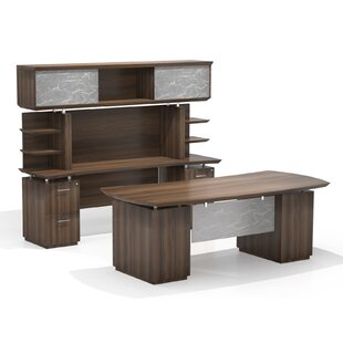 Best Price Sterling Executive Desk with Hutch By Mayline Group