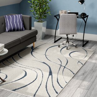 Stacie Cotton Cream/Blue Area Rug by Ebern Designs