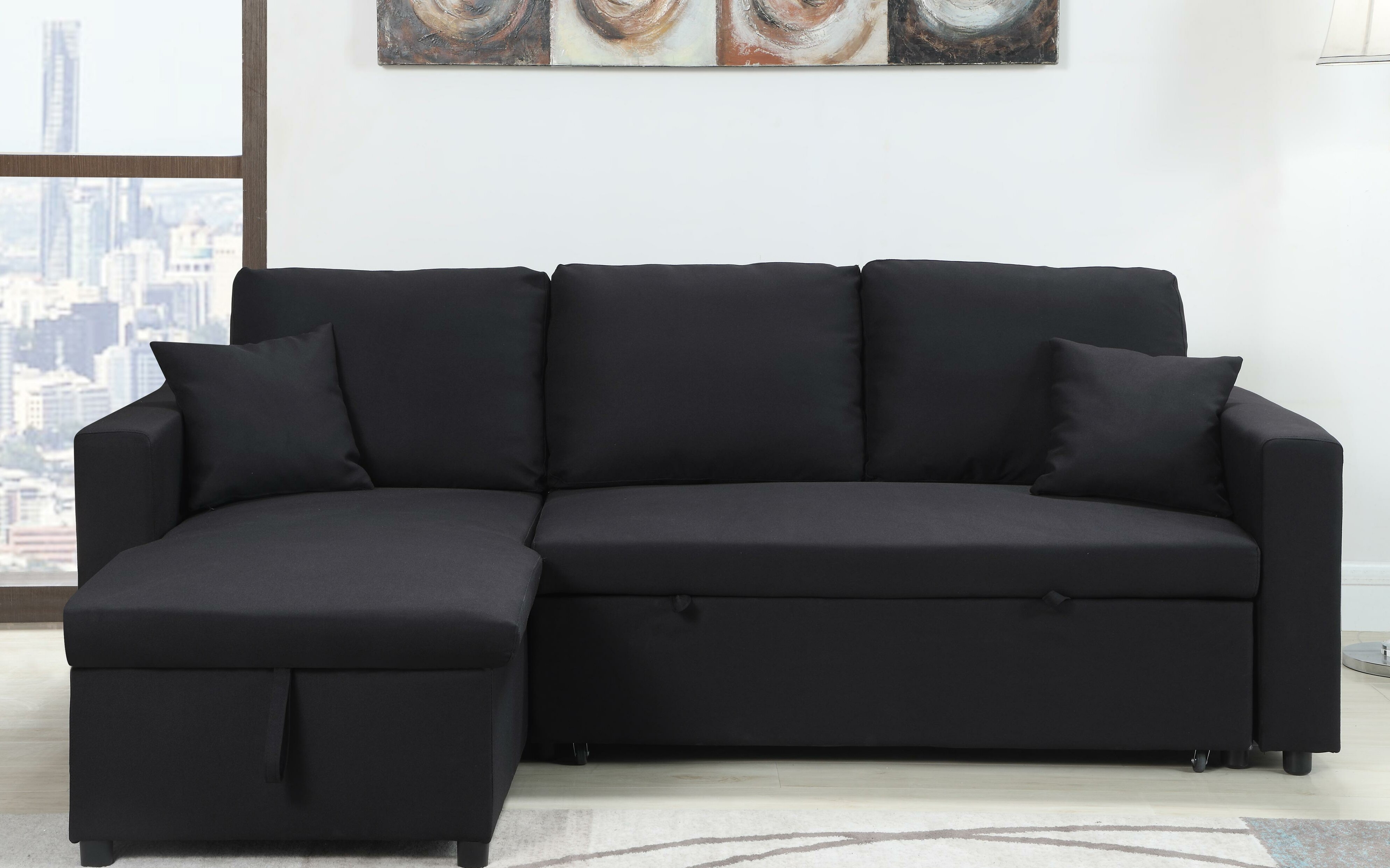 out of queen black full pull sofa size fold seater couch small u amazing shaped bed leather idea living sectional the room