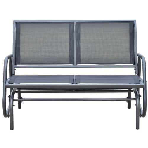 Callen 49 Outdoor Patio Swing Glider Bench Chair Black
