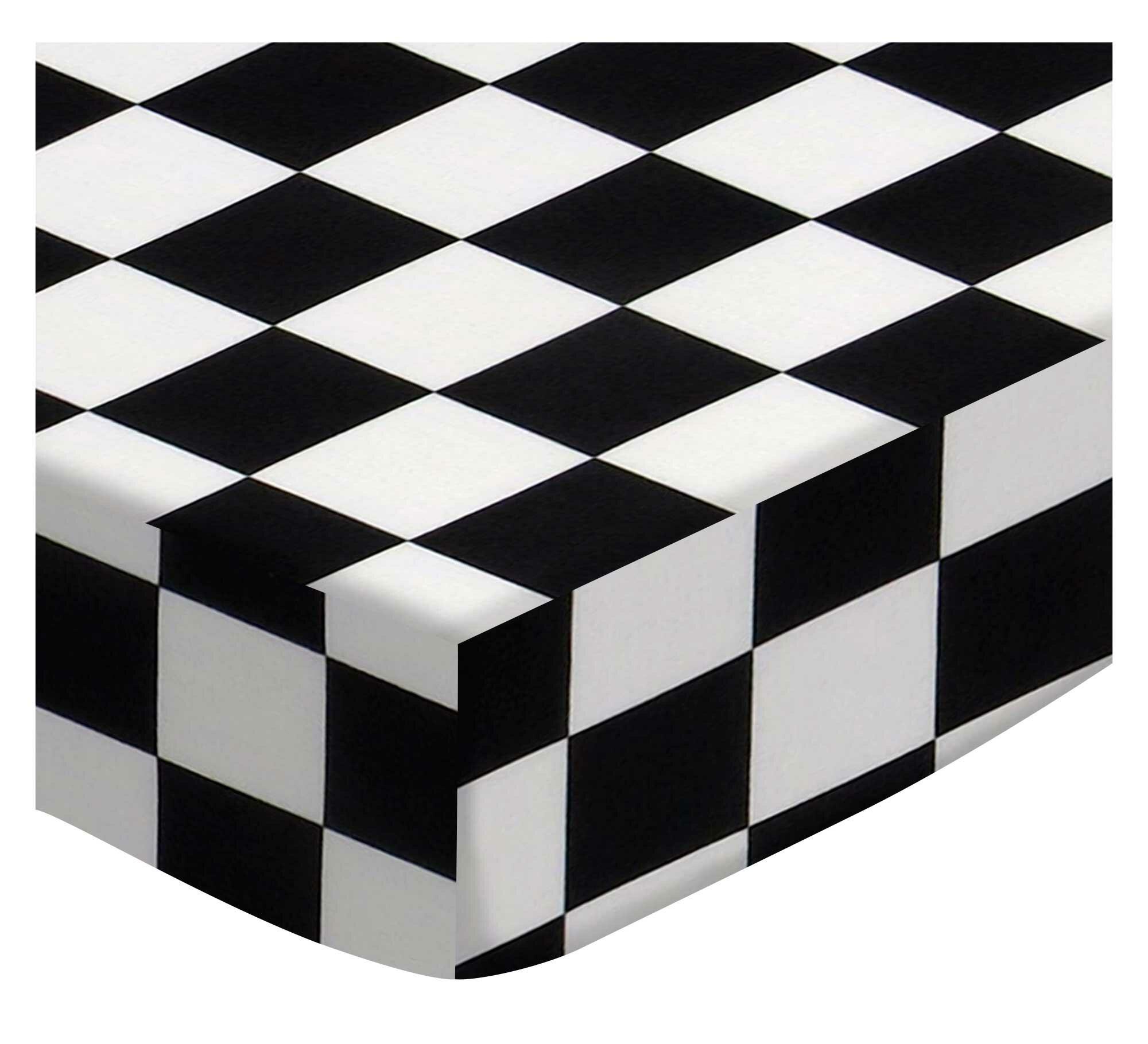 Sheetworld Black White Checkerboard