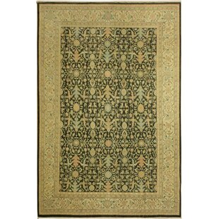 One-of-a-Kind Greenbaum Hand-Knotted 8'9 x 11'11 Wool Green/Tan/Black Area Rug Isabelline