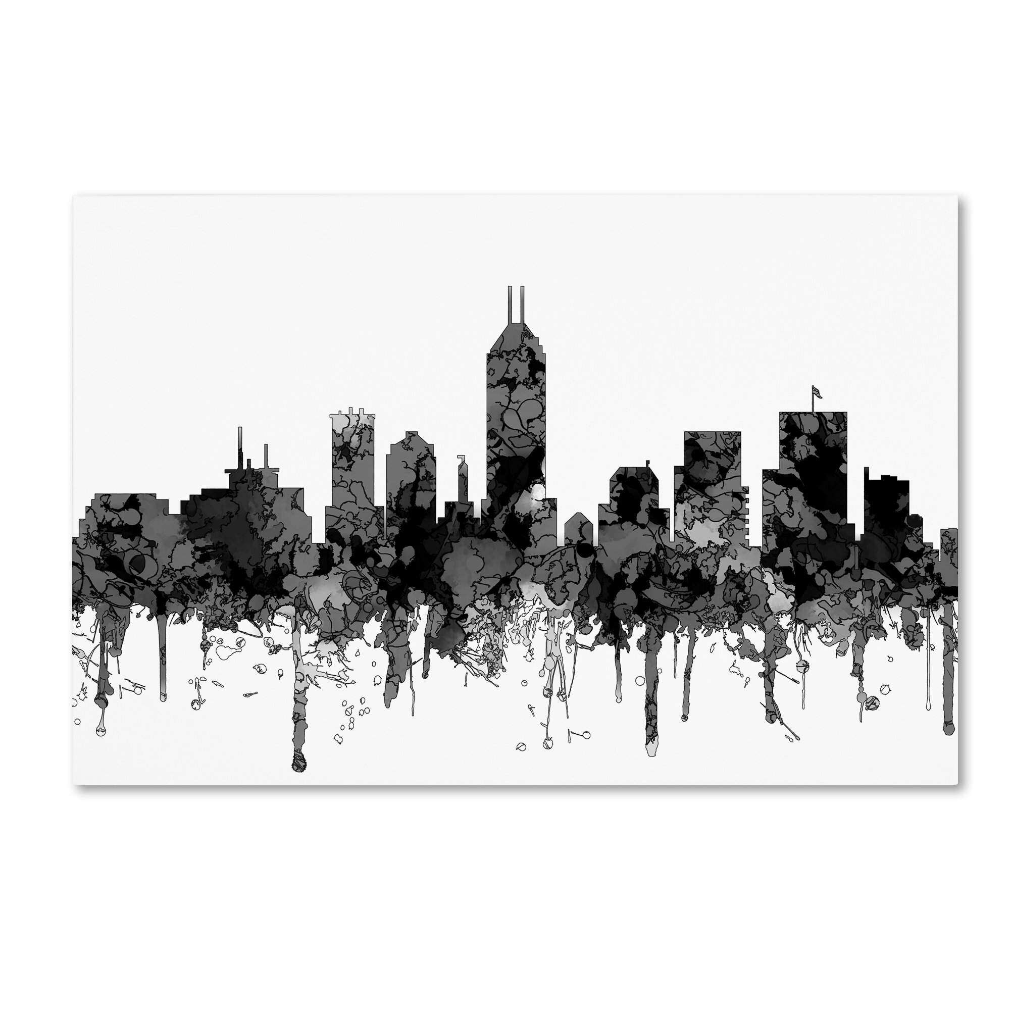 Trademark Art Indiana Indianapolis Skyline Graphic Art Print On Wrapped Canvas Wayfair