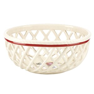 Winter Greetings Open Weave Bread Basket