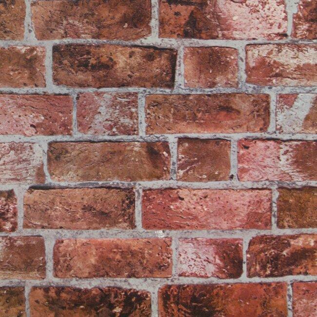 "York Wallcoverings Modern Rustic 33' x 20.5"" Brick Distressed Wallpaper Roll"