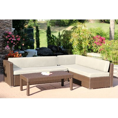 Totnes 3 Piece Sectional Set with Cushions Fabric: Tan
