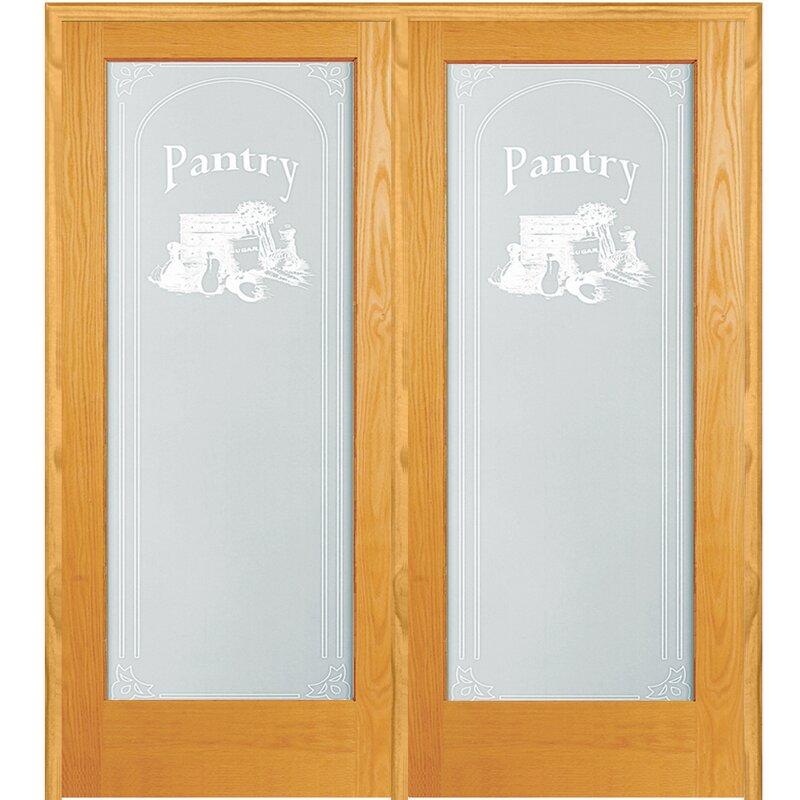 Verona Home Design Pantry Wood 2 Panel Natural Interior French Door