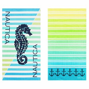 Seahorse Ombre Stripe 2 Piece 100% Cotton Beach Towel Set