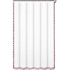 Suffield 100% Cotton Tassel Shower Curtain
