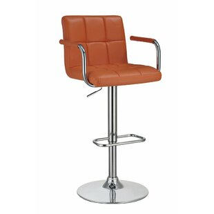 Wootton Grid Adjustable Height Swivel Bar Stool Orren Ellis