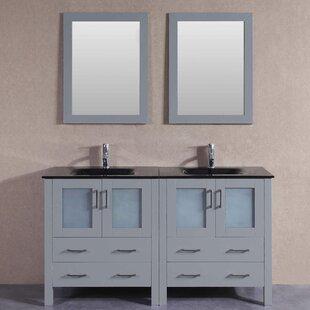 Victoria 59 Double Bathroom Vanity Set with Mirror by Bosconi