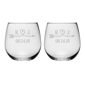 Love Arrow Initials and Date Stemless Wine Glass (Set of 2)