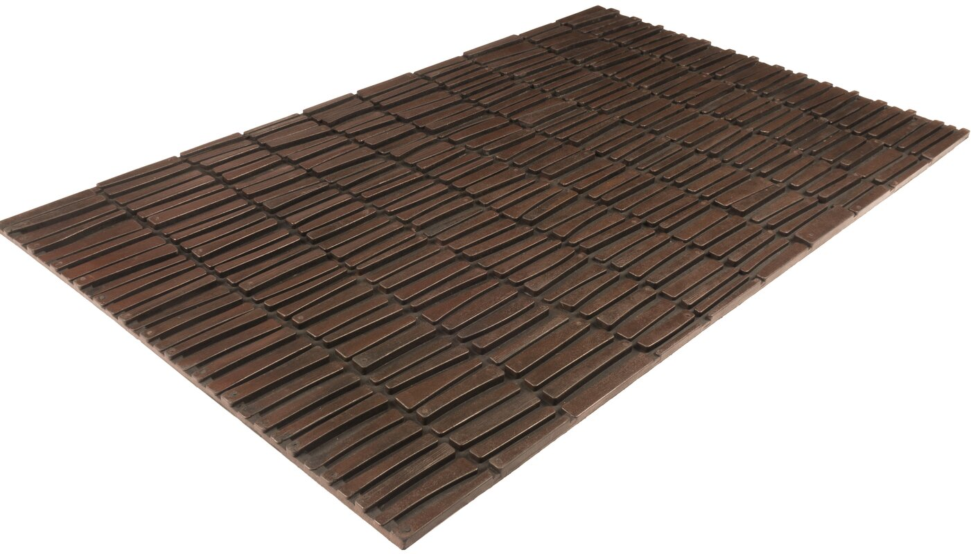 Entryways Timeless Wood Wall Recycled Rubber Door Mat & Reviews ...