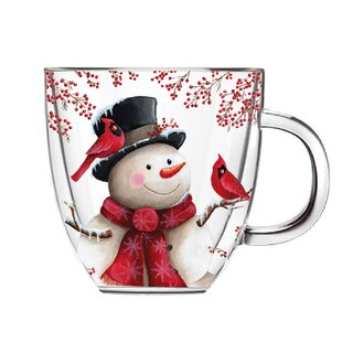 Annabel Snowman and Cardinal Coffee Mug