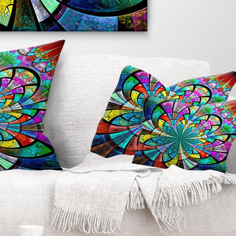 East Urban Home Floral Large Fractal Flower Pattern Lumbar Pillow Wayfair